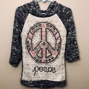 Other - Lacey Half Sleeve Peace Hoodie ☮️ (👧🏼Girls 7/8)